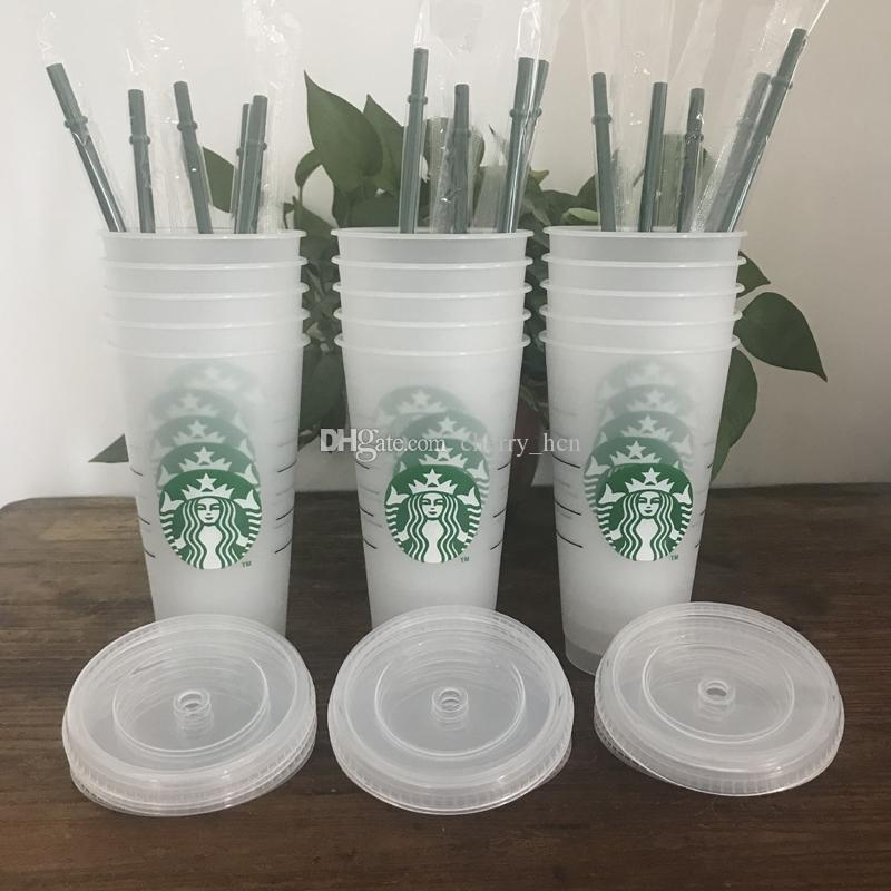 Sıcak Starbucks 24 oz / 710 ml Plastik Bardak Kullanımlık Temizle İçme Düz Alt Kupası Ayağı Şekli Kapak Saman Kupa Bartian 100 adet