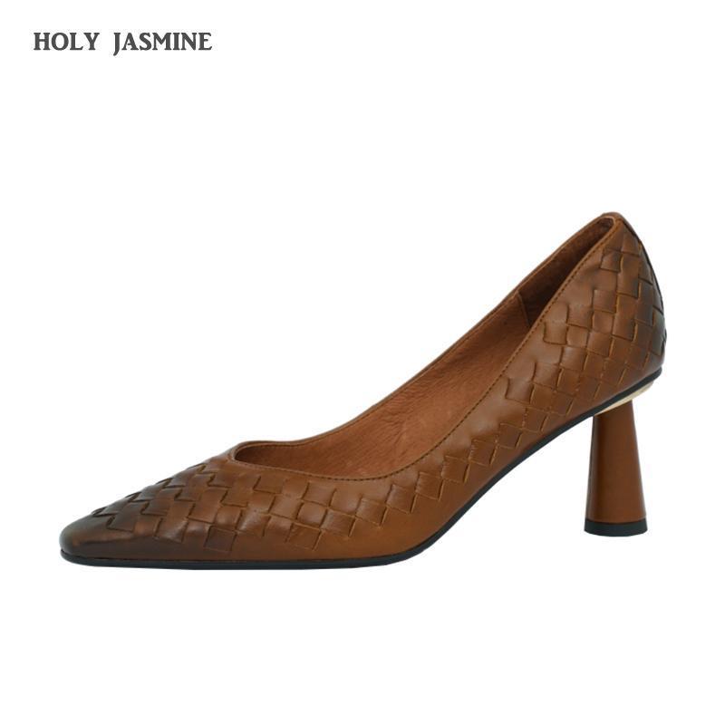 Echtes Leder High Heels Weave Pumps Sexy Steigungen Bootsschuhe Kleid Schuhe Frauen Spitz Zehe Dünne Ferse Damen Frühling Neues