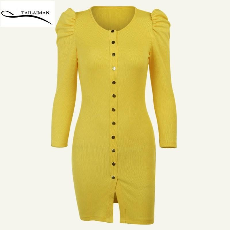 Vestido de Verão Amarelo Femme High-End Soft Girl Curta Saia TataAiman Loja Oficial Sundress Bodycon Ow03