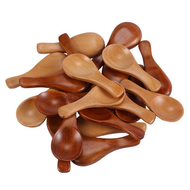 Forks 20 Pieces Small Wooden Spoons Mini Condiments Sugar Seasoning Salt Honey Teaspoon Coffee Tea Jam Mustard Ice Cream Wood