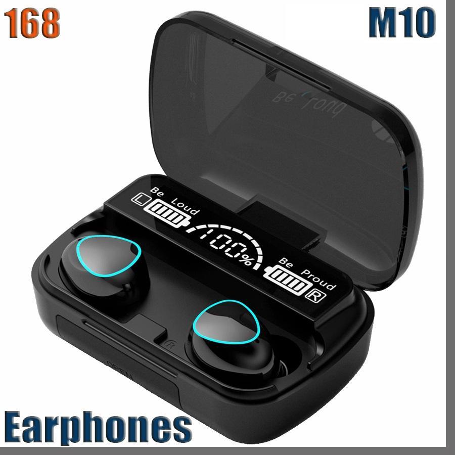 168D M10 Bluetooth Earphone Wireless Headphones Stereo Sport Wireless Earphones Touch Mini Earbuds waterproof with Microphone 2000mAh