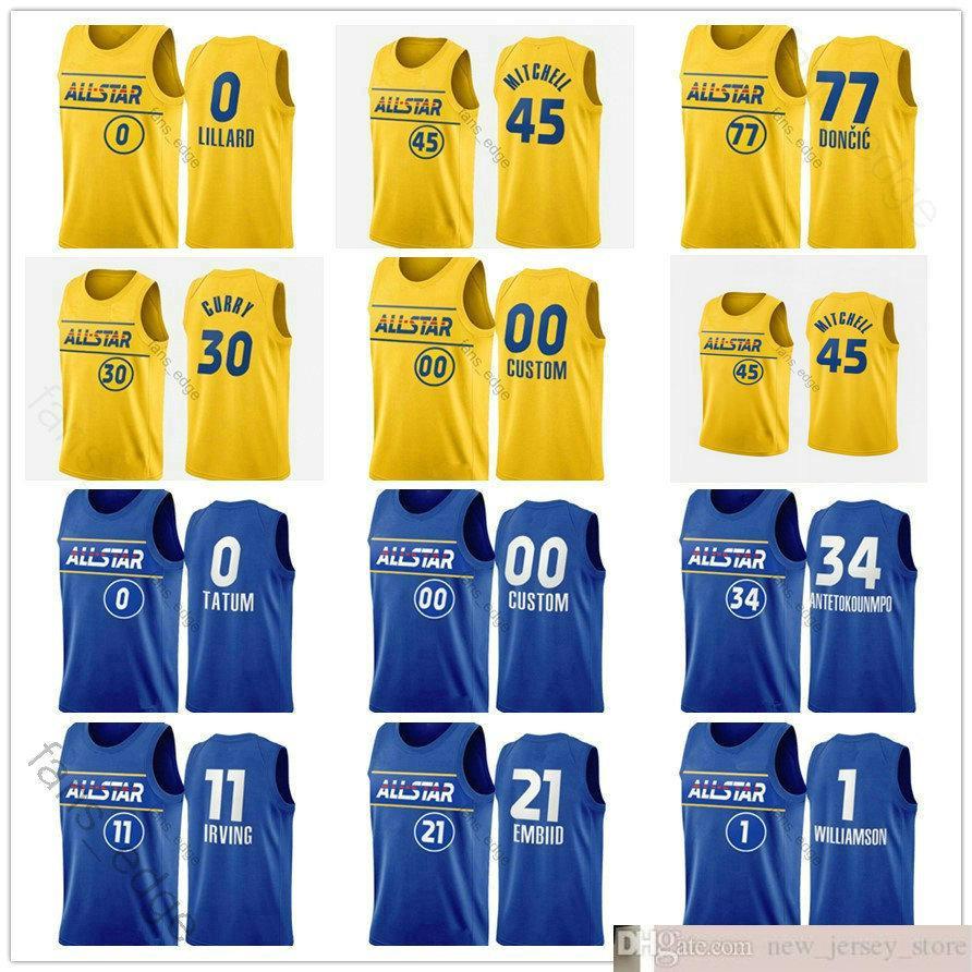 2021 All-Star Basketball Baskılı James Devin Harden Booker Donovan Zion Mitchell Zach Williamson Lavine Julius Nikola Randle Vucevic Formalar