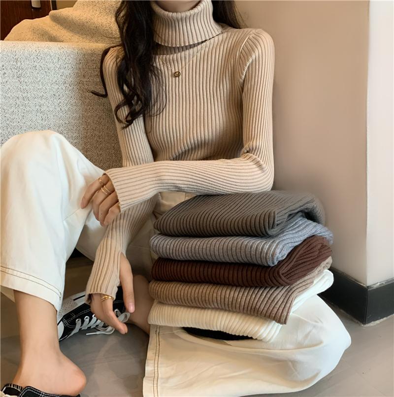Maglione femmina casual 2021 Autunno e inverno nuovo colore solido con dolcevita spessa cappotto selvaggio 3IS3