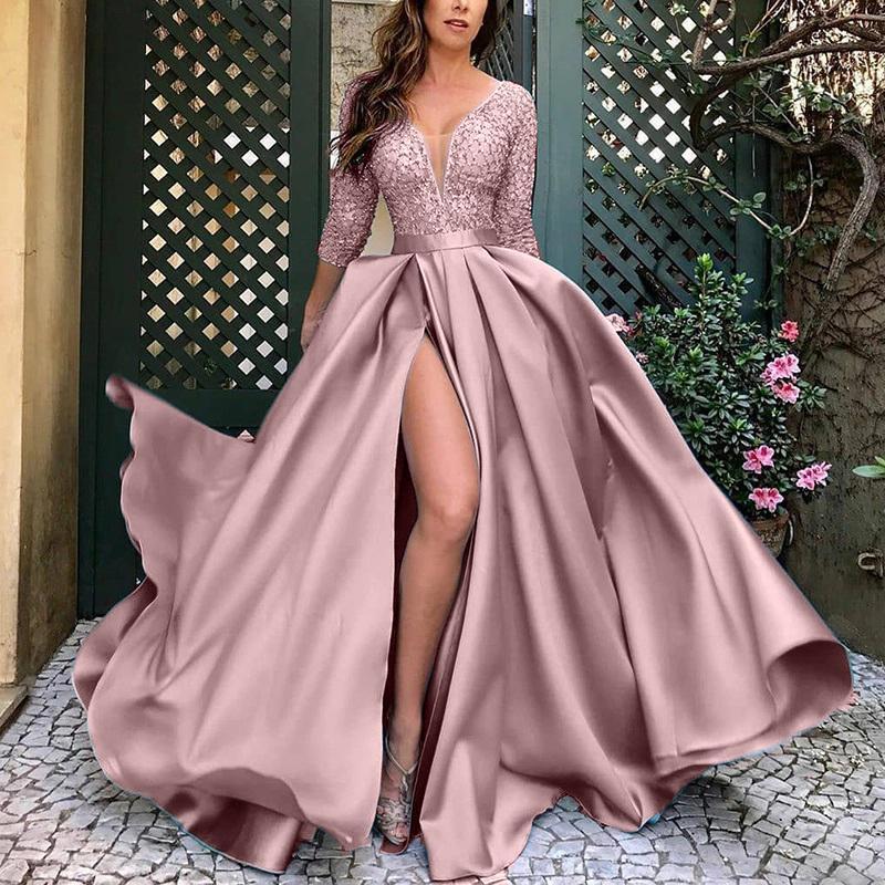 النساء جديد أنيق فساتين ماكسي السيدات الكرة ثوب فستان الزفاف الإناث الدانتيل مثير حزب اللباس عارضة فساتين السهرة