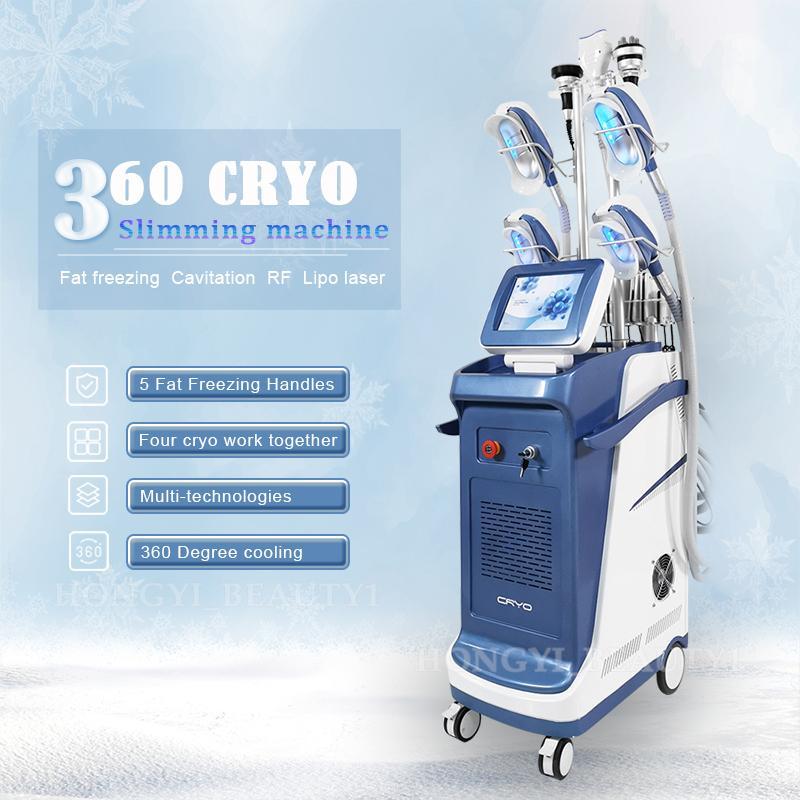 Serin Kriyoterapi Yağ Donduru Makinesi 5 Kolları Cryolipolyse Zayıflama Kavitasyon Yağları Azaltma Lipo Lazer Kriyo Slim