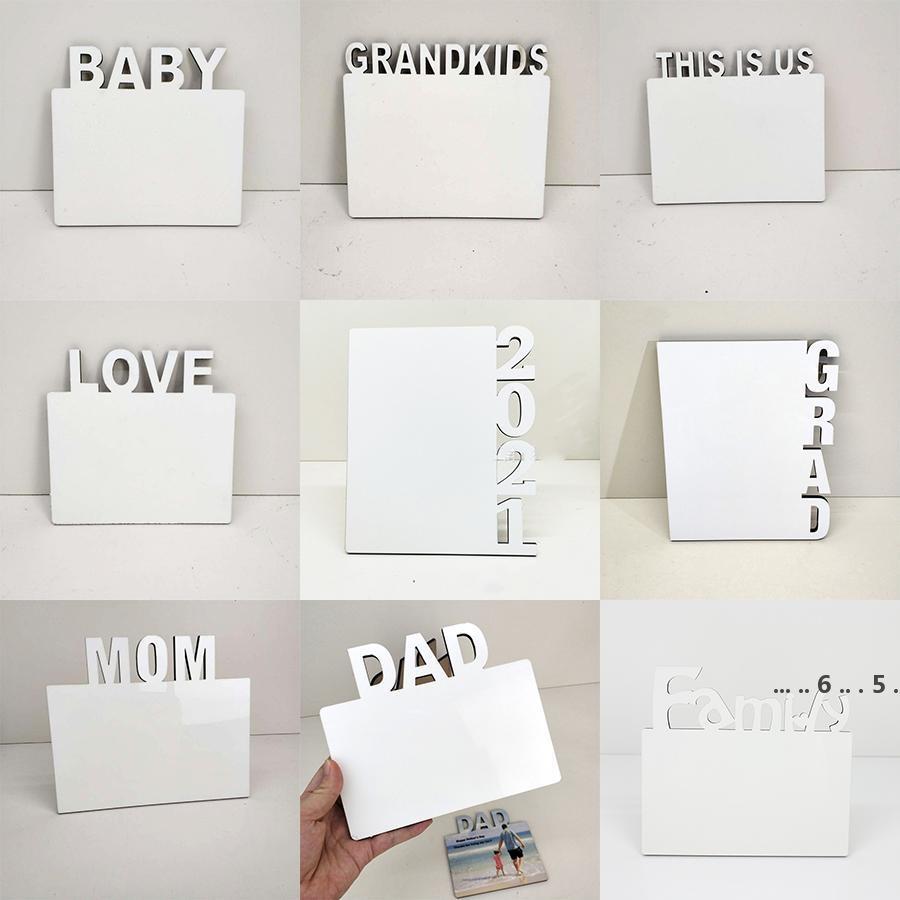 Sublimation Blanks Photo Assiette English Alphabet DIY Album photo DIY DÉCORATIONS D'AMOUR / MOM / FAMILLES Cadres de sublimation FWE4796