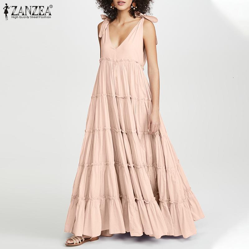 Летние женское платье Богемные солнцезащитные часы Zanzea ruches повседневная спагетти бак танка Vestidos женский V-образным вырезом пляж gewaad плюс размер