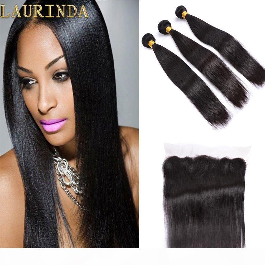 Tessuto di capelli lisci brasiliani di grado 7A con chiusura (13 * 4) 100% non trasformata capelli vergini brasiliani Dritto peruviano peruviano estensioni dei capelli umani