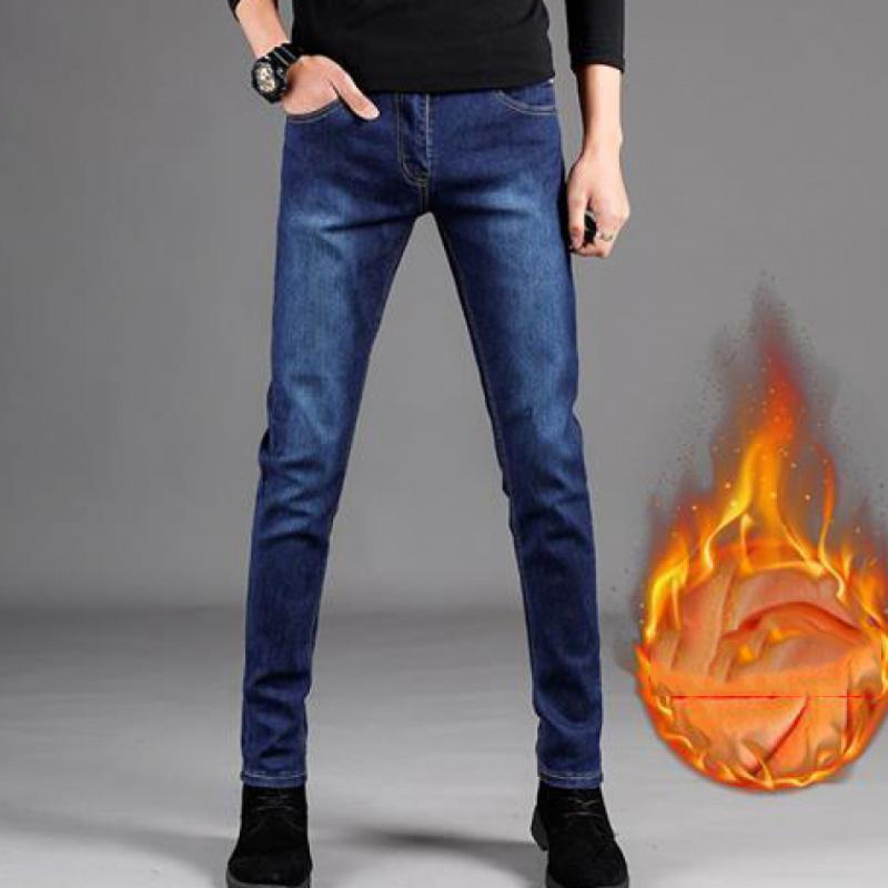 Hiver 2021 Fashion Teen Homme Plus Velvet Droite Jeans Marque Lavé Lâche Jeune Classic Retro Coréen Casual Prafon Pantalon Q0128