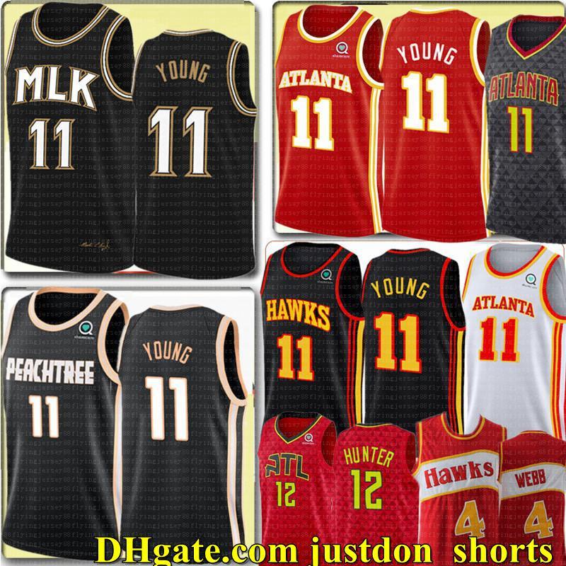 NCAA NUEVA TRAE 11 JOVEN DEANDRE 12 HUNTER Jersey Universidad Retro Spud 4 Webb 21 Jerseys de baloncesto Bordado Black Black Shirts