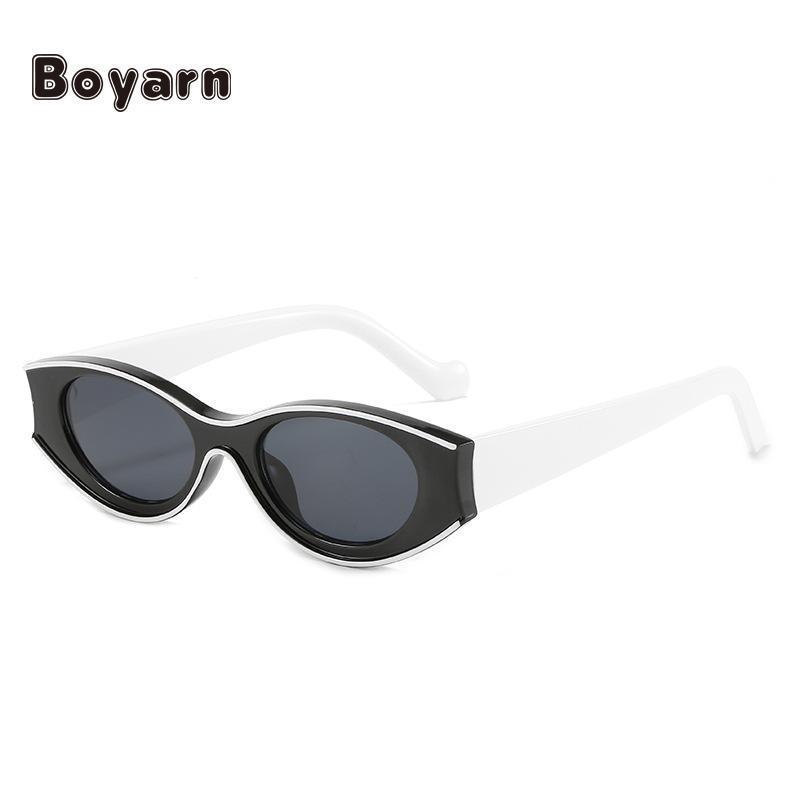 선글라스 Boyarn 레트로 여성 작은 직사각형 프레임 태양 안경 UV400 보호 안경 여름 해변 유행 안경