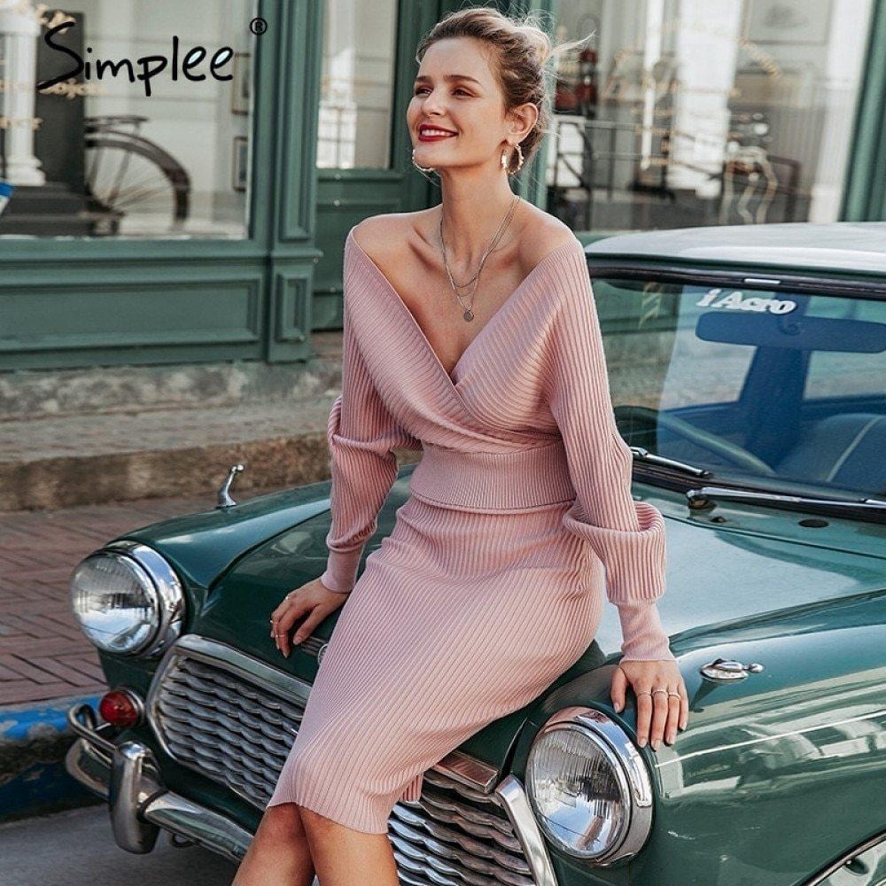 Simplee Sexy V-образным вырезом женщин вязаная юбка костюмы осень зима летучий рукав 2 шт. Элегантная вечеринка женский свитер розовое платье 210305