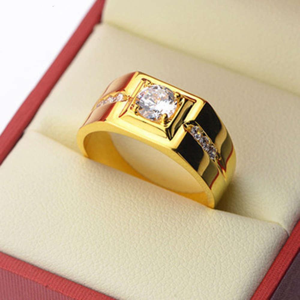 Hommes Dominateur Diamant Diamant Gentlemany Tempéramment Ouvrir Imitation Mosangshi Bague Bijoux à la main