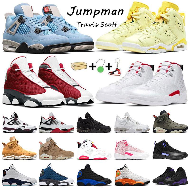 Travis Scott 6s Jumpman 13 농구 신발 4S 대학교 블루 플로랄 레드 플린트 하이퍼 로얄 12s 트위스트 인디고 여성 스포츠 트레이너