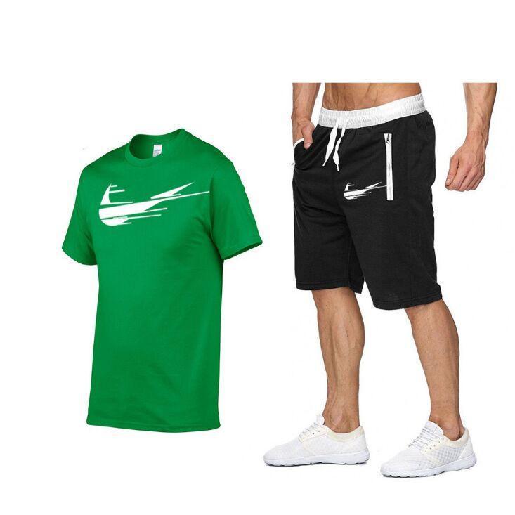Set da uomo Stampa 100% T-shirt in cotone T-shirt Pantaloncini 2021 Summer Short Set Tracksuit Sport Suit Jogging Sweatsuit Pallacanestro Jersey S-XXL