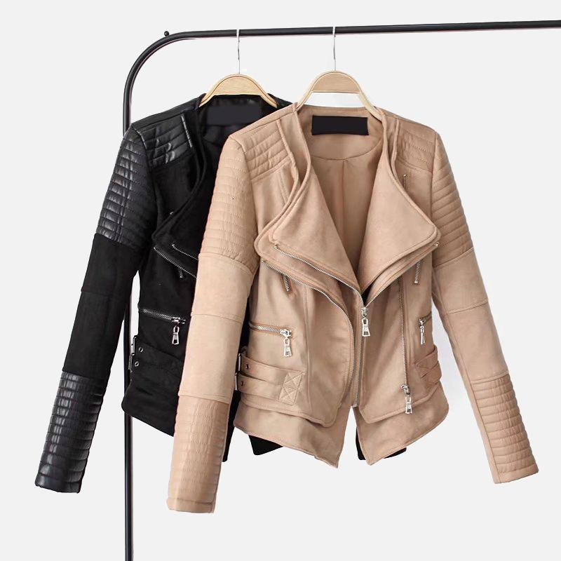 PU Süet Patchwork Deri Kadın Ceket Çift Gümüşme Yaka Fermuar Kadın Ceketler 2021 Sonbahar Kış Moda Bayanlar 3ris