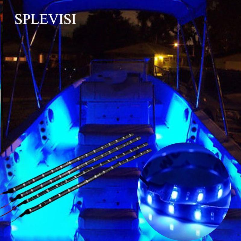 """4x Bateau Navigation Led Éclairage 12 """"étanche Marine LED Bandes de bateau Pont de bateau Courtoisie Bow Ponton clair Bleu Blanc rouge Vert"""