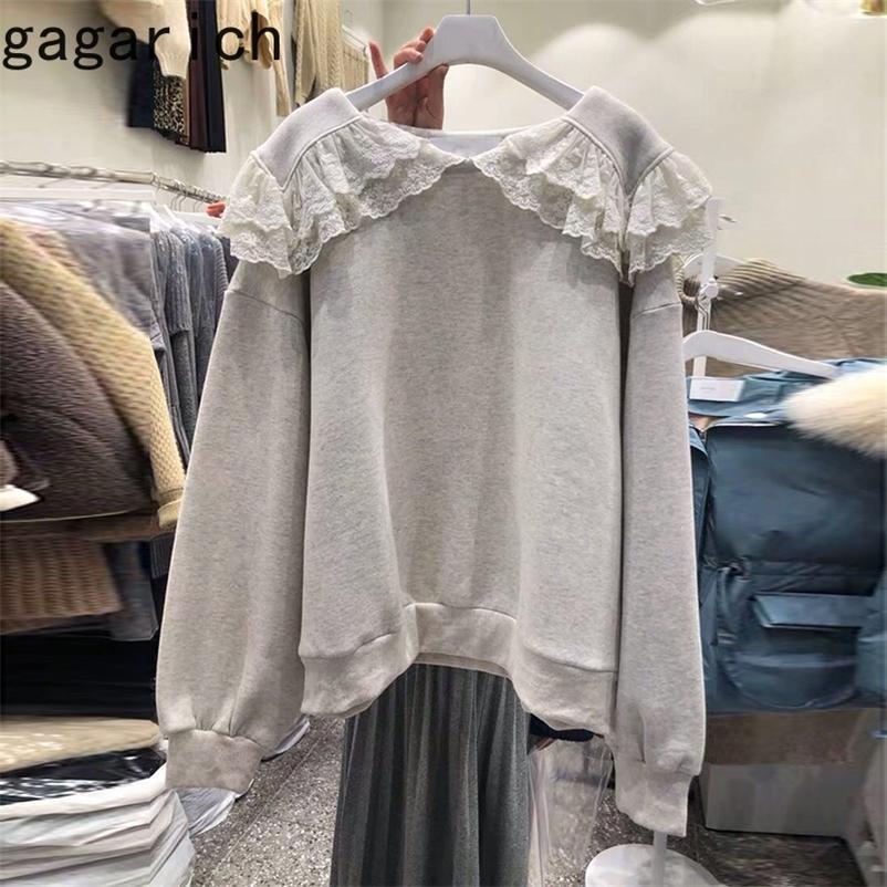 Gagarich à manches longues Sweats à capuche Femme Solide Dentelle Sailor Colliers Étudiants coréens Chic Automne épais Casual Casual Femelle PullsShirts 210315