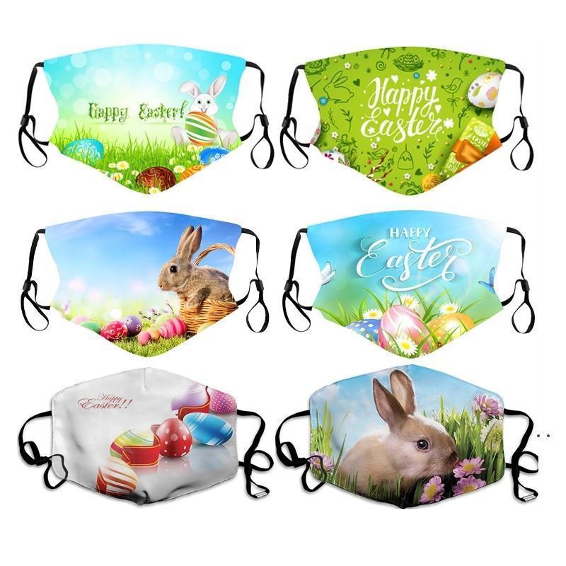 Máscaras de la cara de Pascua con máscara de cara de huevo de conejo adulto Moda transpirable lavable Pascua Pascua Aparieve máscaras para hombre mujer AHA3636