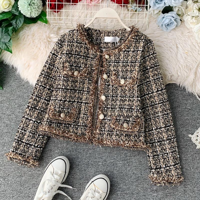 Neue Herbst Winter Vintage Tweed Jacke Mantel Frauen Kleiner Duft Patchwork Koreanische Woll- Getreide Mäntel Elegante kurze Oberbekleidung