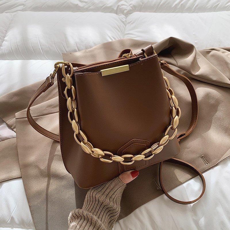 Goldene Eimer Kette PU Verdicken Taschen 2021 Luxus Frauen Chic Black Bag Crossbody Handtaschen Weibliche Vintage Desigel Leder Schulter XCBVQ