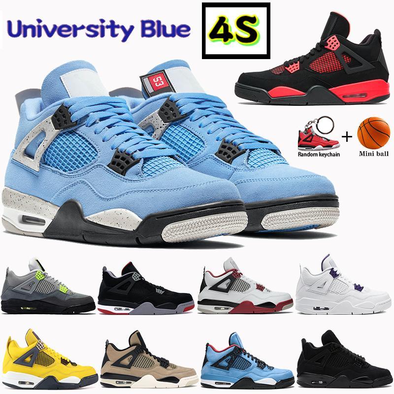 2021 الجامعة الأزرق الرجال 4 4 ثانية أحذية كرة السلة الأحمر الرعد باريس الأسود القط معدني الأرجواني bred صبار جاك رجل المرأة أحذية رياضية