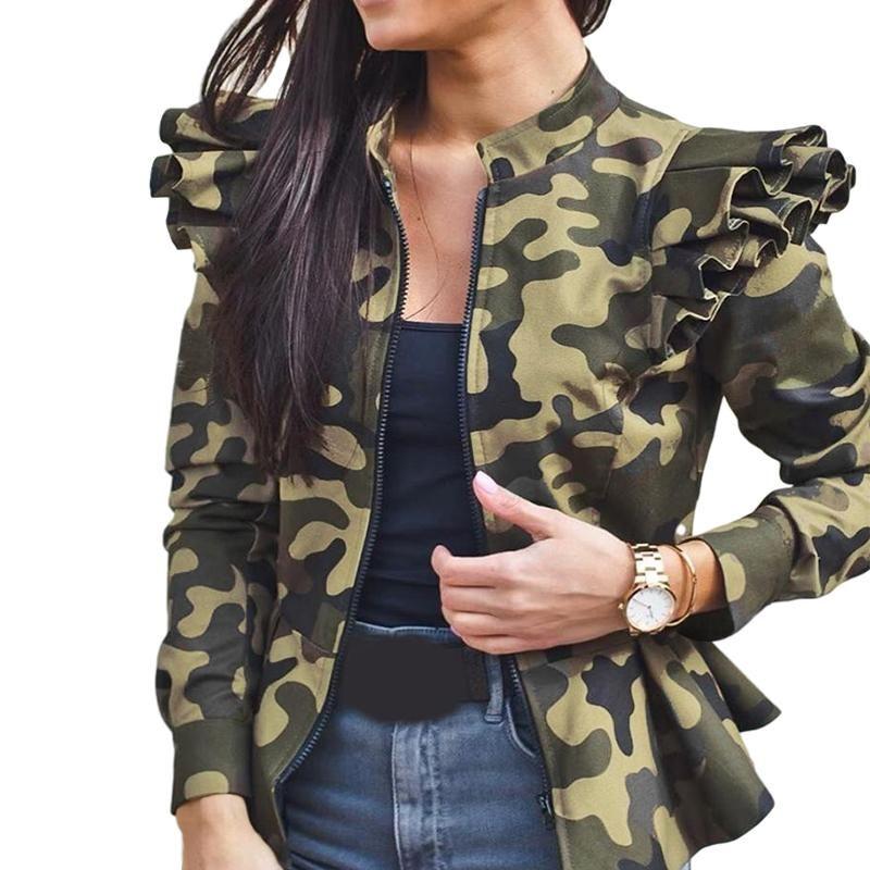 Herbst Frauen Mode Tarnung Rüschen Mantel Jacke Winter Langarm Stehkragen Kurzmantel Weibliche Leopard Plaid Reißverschluss JA