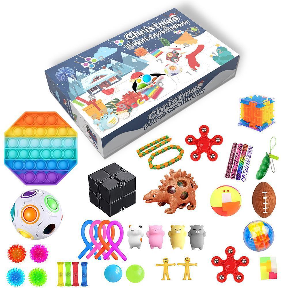 Fidget Toys Christmas Blind Box 24 jours Calendrier de l'Avent Calendrier Christmas Musique Coffret Compte à rebours de Noël 2021 Cadeaux pour enfants FY9591