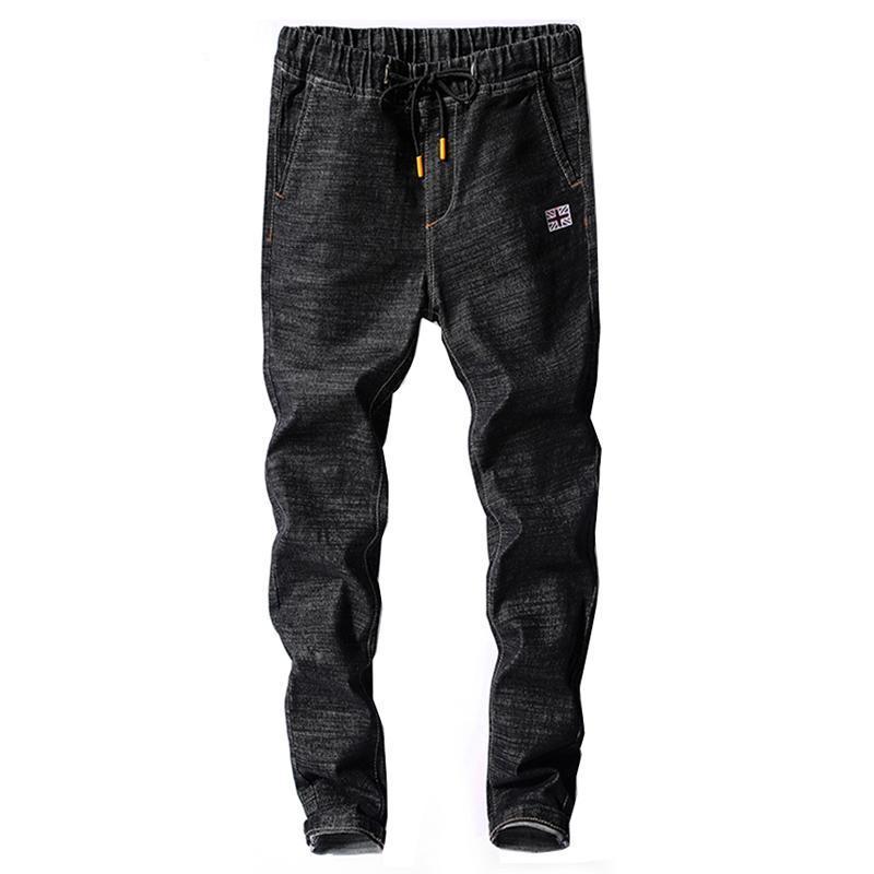 Mens Jeans Spring Spring Spring Spring Spring Automne Taille Elastic Black Slim Cordon Cordon Black Jean Homme Casual Denim Pants Joggers Homme