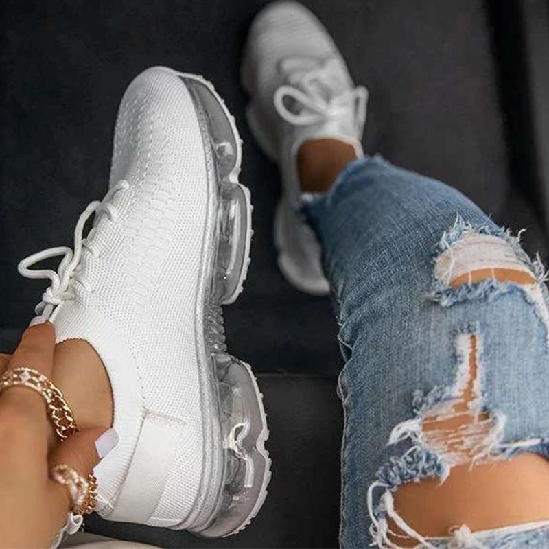 2021 Yeni Kadın Casual Vulkanized Artı Boyutu Kadın Katı Renk Örgü Sneakers kadın Dantel Yukarı Düz Rahat Nefes Kadın Ayakkabı OCWL