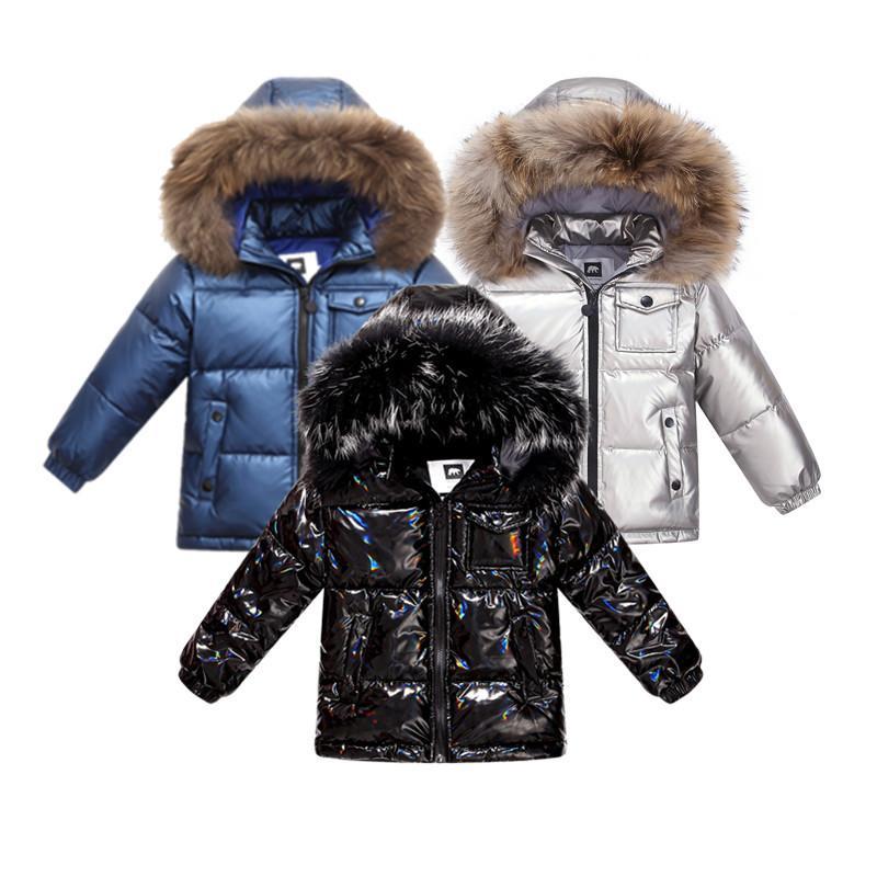 Fashion Winter Coat Down Chaqueta para niños Ropa de niños 2-8 y Ropa para niños Espesar Outerwear Abrigos con naturaleza piel Parka Niños