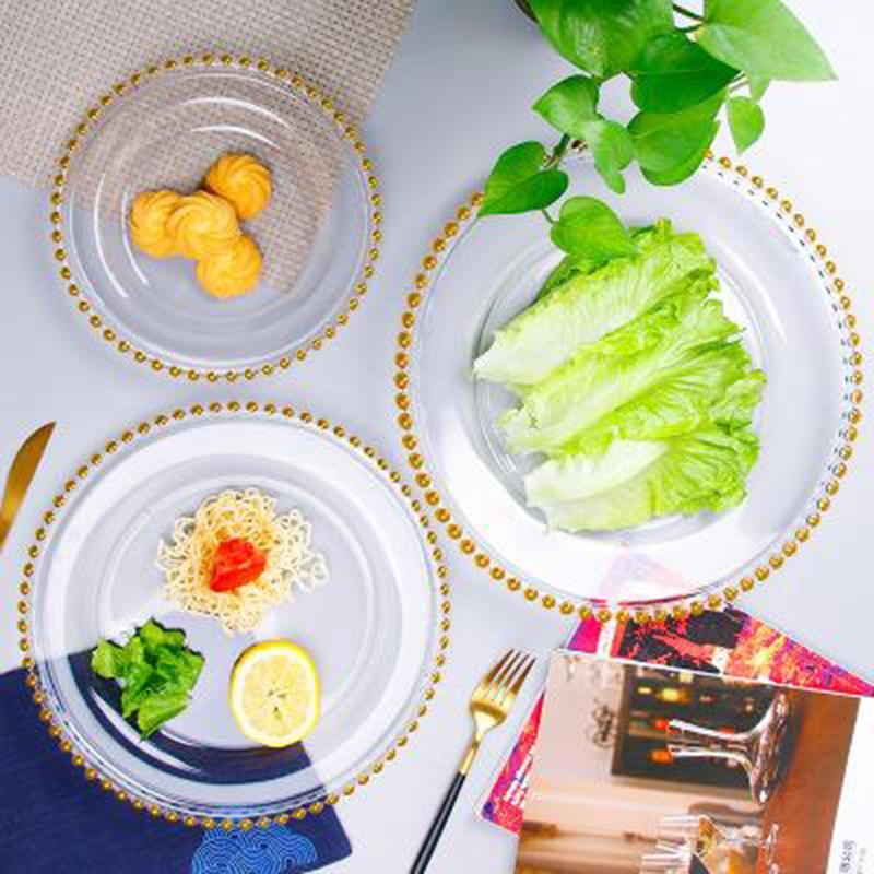 21cm Kristallglasplatten Kreative Perlkange Rundform Transparente Frucht Western Dinner Platte Haushaltsgerichte Geschirr Geschirr