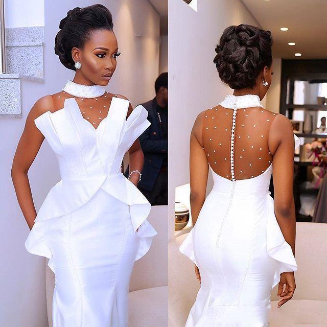 Abiti da sposa bianchi ad alto collo sirena perle abiti da sposa abiti da sposa sexy africano africano africano senza soluzione di illuminazione