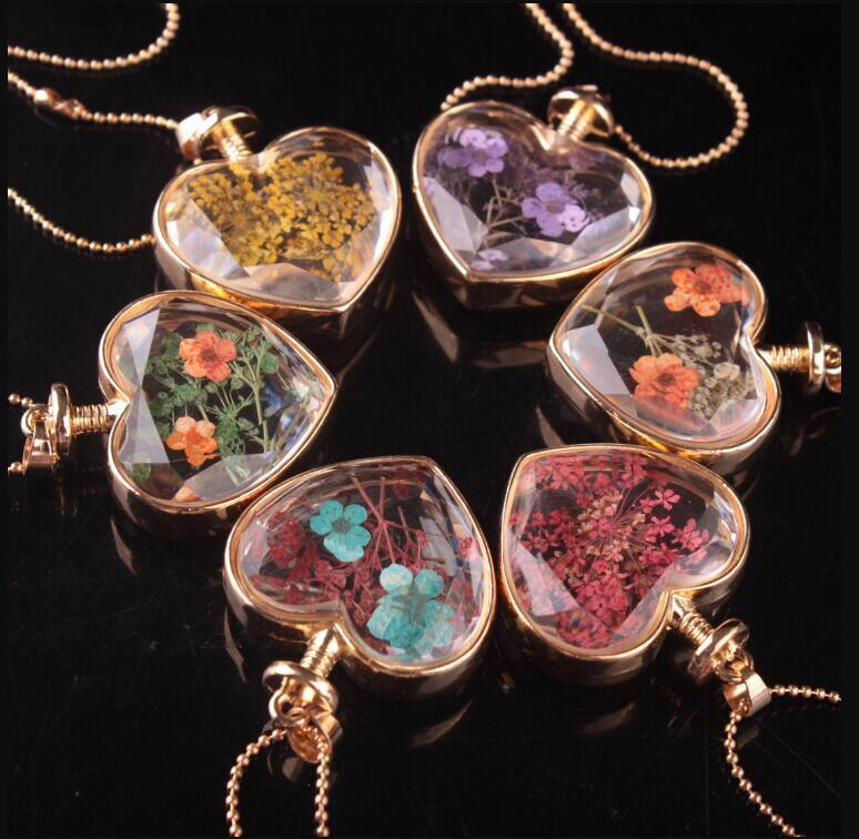 Herzform Lampwork Glas Anhänger Aromatherapie Anhänger Halsketten Schmuck Trockene Blumen Parfüm Vial Bottleps2955