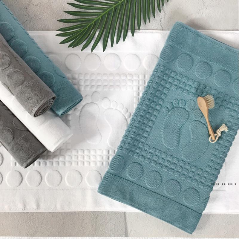 Home Floor Towel 100% Cotton Comfortable Bathroom Non-slip Home Toilet Floor Mat Club Stay Thick Absorbent Cotton Foot Mat EWB5324