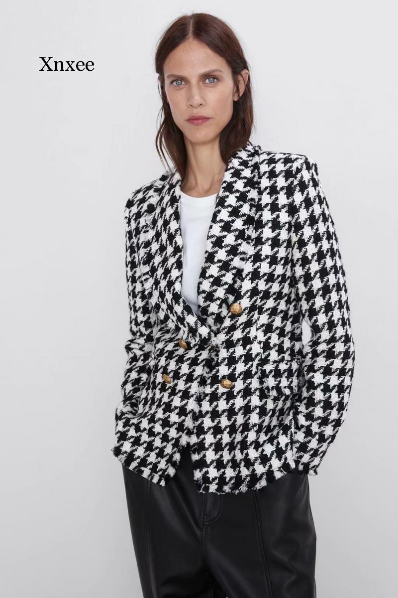 Mujeres de lana chaquetas de moda Oficina de moda para mujer Black Tassel Houndstooth Abrigos Femenino Primavera Vintage Grueso Abrigo Plaid Coat Chic Ropa