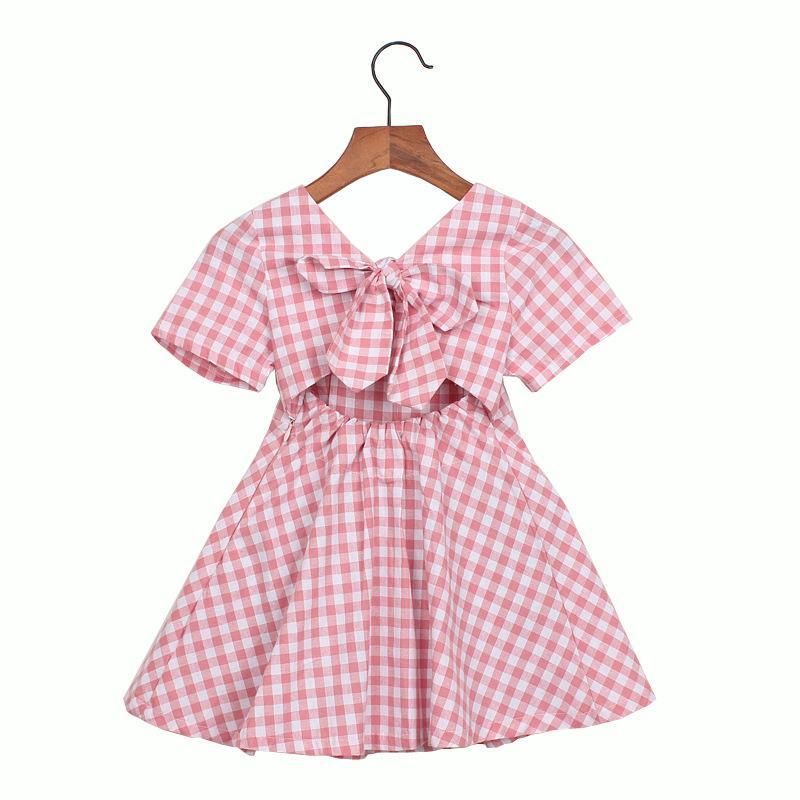 wholesale newest korean ins fashions Girls plaid dress short sleeve cute children straps summer kids princess dress