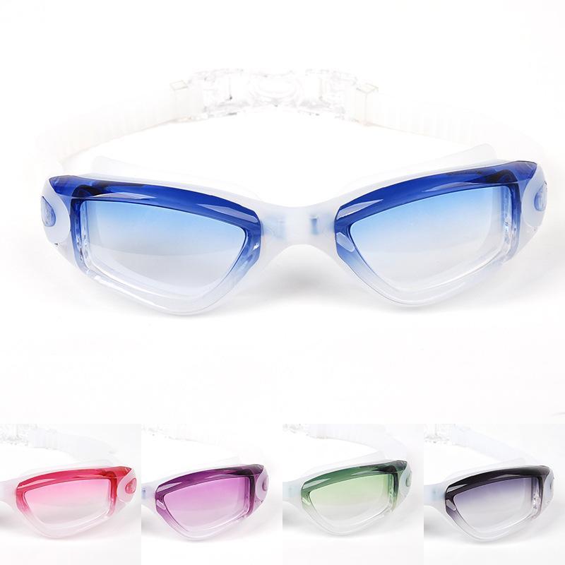 Gran marco Un conjunto de gafas de alta calidad para nadar de moda color de gradiente marco grande anti niebla anti natación ultravioleta gafas para hombres y