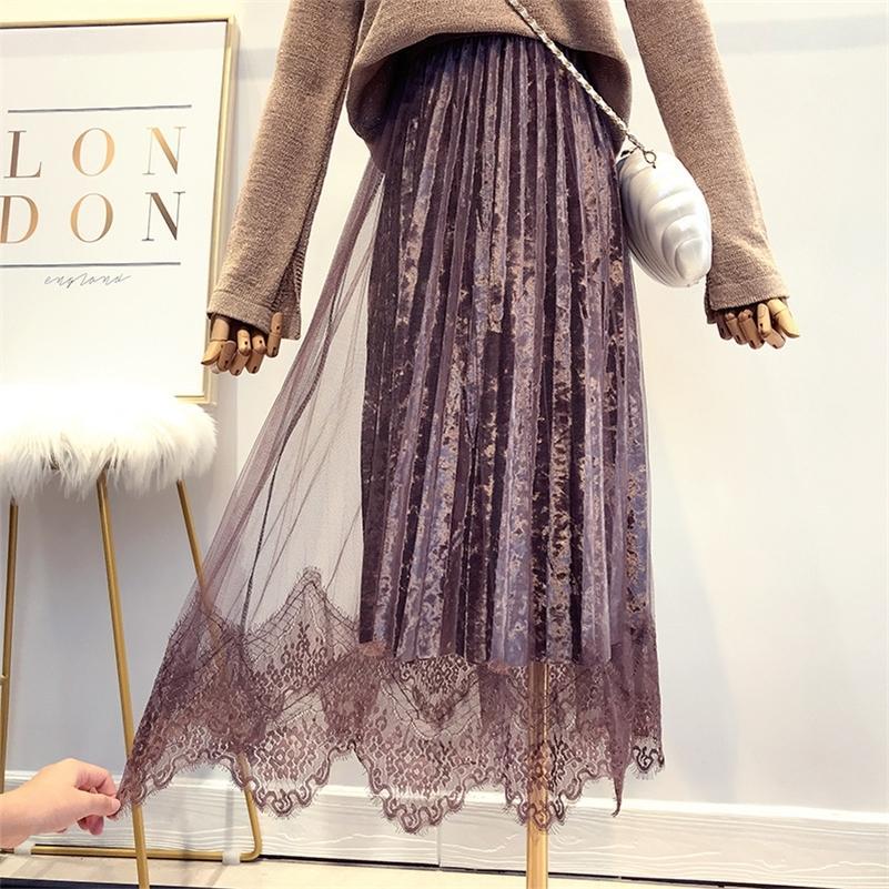 Outono Novas Mulheres Super Fada Lace Spliced Velvet Saia Inverno de Alta Qualidade Elegante Tule Long Plissed Saia Falda Mujer Saias 210315