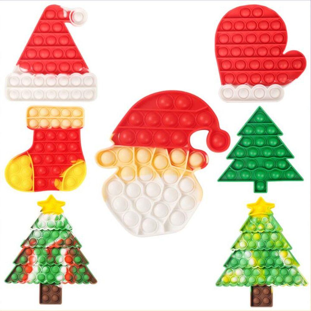 Einfache Grübchen Fidget spielzeug Push-Blase-Angst Anti Stress Reliever Spielzeug Weihnachtsbaum Santa Socken Kawaii Zeug Autismus Antistress Sensory Spielzeug