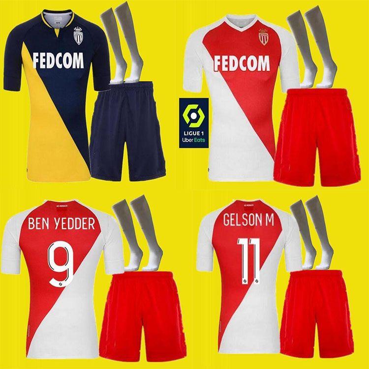 Top Quality2020 2021 Fabregas como Mônaco Ben Iésda Futebol Camisolas Jovets Golovin 20 21 Maillot de Jorge Homens Socks Kit Camisa de Futebol