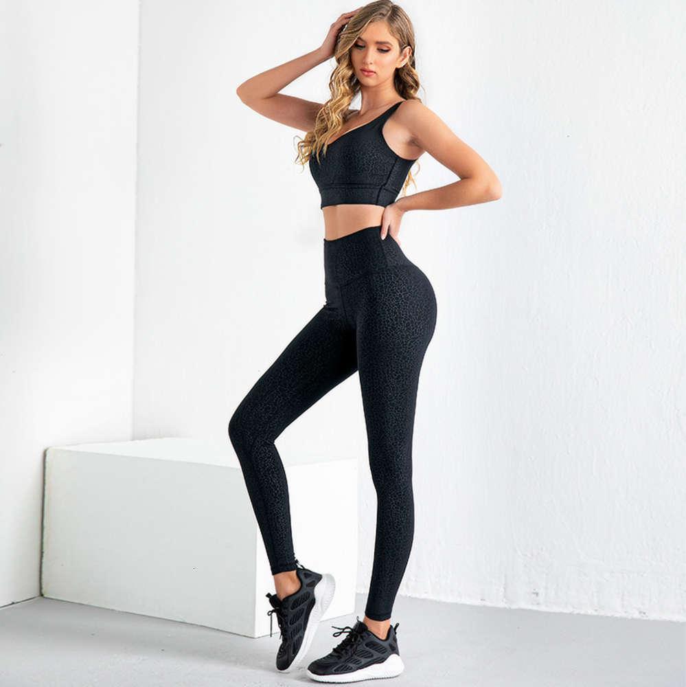 2021 Frühling und Sommer Neue Sportanzug Frauen BROCADE Doppelseitige Helferhose eng Hüftheben 2-teiliges Set Trainingsanzug