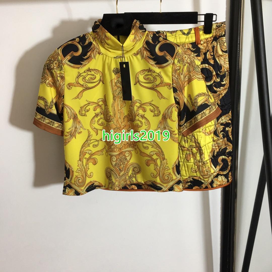 Camisa para mujer Camiseta de manga corta Camiseta de manga corta Camisetas con cremallera impresiones retro camiseta de cintura alta rodilla mini falda de dos piezas conjunto
