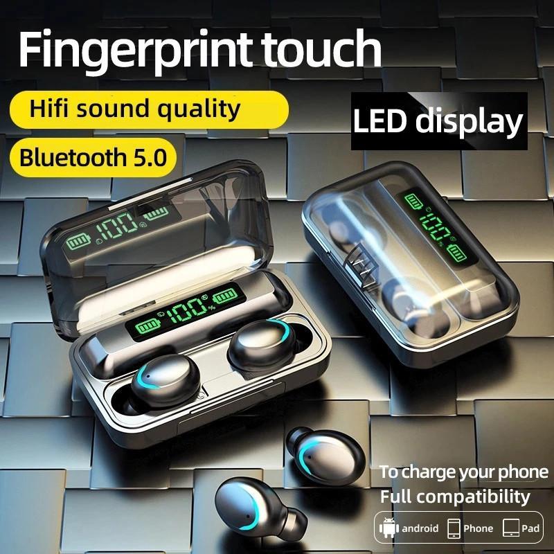 Тип беспроводных наушников F9 5.1 Bluetooth-наушники TWS Earbud 9D Bass Mini In-EAR SPORTS Спортивный Смарт-сенсорный контроль 2200mAh Водонепроницаемые гарнитуры