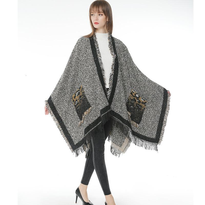 Hot new pocket leopard print cashmere tassel to increase thermal split scarf Cape