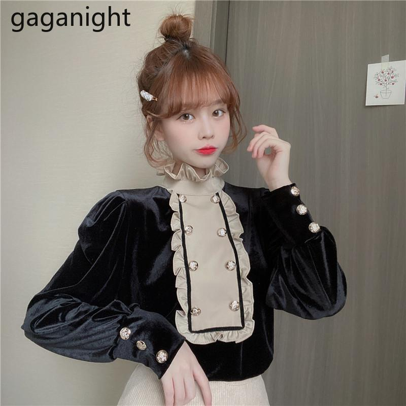 Gaganight Elegante donna Solid shirt chic ruffles manica lunga camicette autunno inverno ufficio coreano ufficio signora vintage nero Blusas 21302