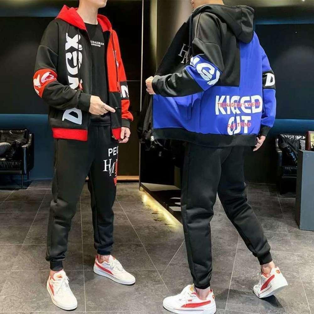Sportswear estudiante traje casual coreano con capucha de moda Cardigan calle Hip Hop Sweater de los hombres abrigo otoño