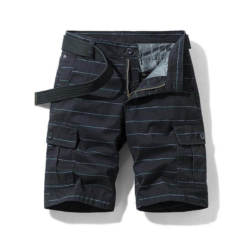 Männer Sommer Horizontal Stripe Gedruckte Frachtkurs Six-Pocket Fünf-Punkt-Hosen Neue lose Mode Herrenbekleidung Neueste