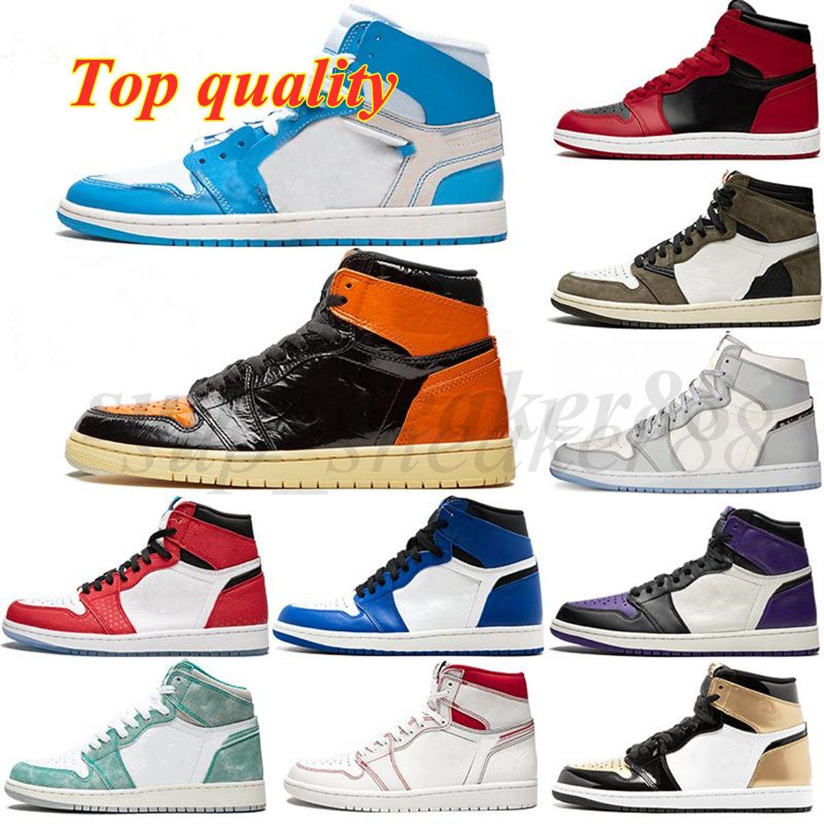2021 Jumpman 1 1S zapato alto dedo del pie negro No para reventa Hombres Mujeres Zapatos de baloncesto Obsidian UNC WHITE HOMBRES PARA MUJERES PARA MUJERES