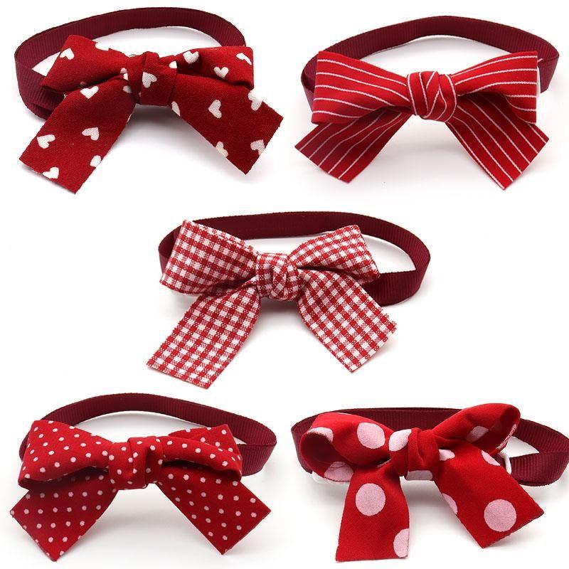Ropa para perros 50/100 PCS Accesorios de cachorro Día de San Valentín Gato Bowties Red Arcos Tie Cuello Suministros para mascotas Lazos de arco